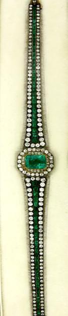 Antique Emerald and Diamond Bracelet.