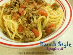 Fantastical Sharing of Recipes: Ranch Style Spaghetti Best Spaghetti, Spaghetti Recipes, Veal Recipes, Side Recipes, Pasta Dishes, Food Dishes, Main Dishes, Rice Dishes, Italian Dishes