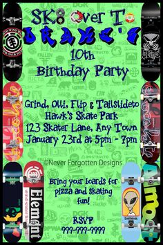 Skate Board Boarding Birthday Party Invitation by Never Forgotten Design, $9.99    Visit Never Forgotten Designs for more unique birthday party invites ideas with matching cake frosting sheet designs, party favors, goodie bag graphics and water bottle/juice labels to match!