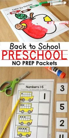 Back to School Preschool NO PREP Packets! Filled with fun, hands-on activities, this packet is perfect for teaching numbers, letters, shapes, colors, fine-motor skills and MORE!