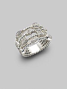 David Yurman - Diamond & Sterling Silver Open Cable Ring