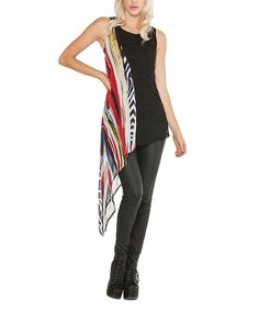 Look at this Adore Black & Red Abstract Asymmetrical Sidetail Tunic - Women on #zulily today!