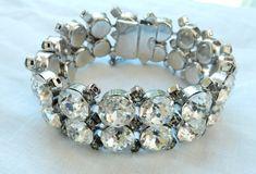 Rhinestone Jewelry-Rhinestone Bracelet-Wedding Jewelry-Bridal Bracelet-Kramer-Statement Bracelet-Black Ice Bracelet-Smoke Rhinestones