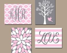Pink Gray Nursery Wall Art Baby Girl Nursery Decor Girl Tree Bird Art Girl Monogram Pink Gray Girl Bedroom Canvas or Print Set of 4 Baby Wall Art, Nursery Wall Art, Girl Nursery, Nursery Decor, Wall Decor, Pink Bed Linen, Bedroom Black, Bedroom Yellow, Pink Bedding
