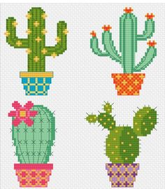 Modern Cross Stitch - Cactus Pots - Cross Stitch P Hardanger Embroidery, Cross Stitch Embroidery, Embroidery Patterns, Hand Embroidery, Cactus Cross Stitch, Cross Stitch Flowers Pattern, Back Stitch, Cross Stitch Designs, Modern Cross Stitch Patterns