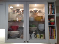 Don't be afraid of glass front cabinets! What a great way to add style and color to your kitchen. Perfect marriage of beauty, personality, and function. Kitchen Organization, Storage Organization, Glass Front Cabinets, Perfect Marriage, China Cabinet, Personality, Color, Furniture, Beauty