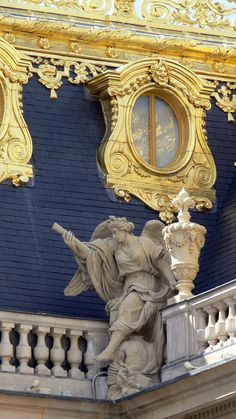 Paris, France ~ Palace at Versailles, detail of roof.Louis XIV style architectural origins from Vaux-le-Vicomte.