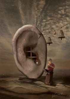 A weird picture that invites the audience into the dream world of the artist.