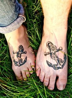 Anchor tattoos on foot for men