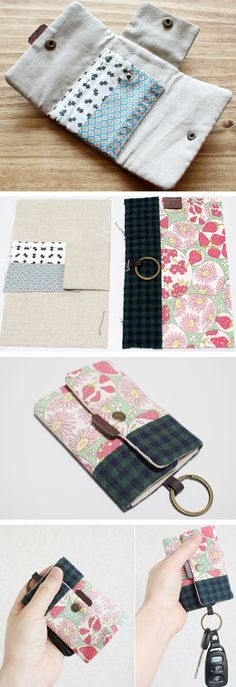 Card Holder Key Chain Tutorial DIY step-by-step in Pictures. Sewing Hacks, Sewing Tutorials, Sewing Crafts, Sewing Projects, Sewing Patterns, Diy Wallet, Card Wallet, Creation Couture, Fabric Bags