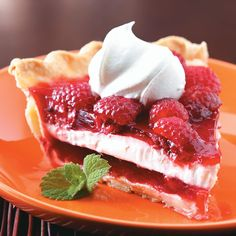 Raspberry Ribbon Pie Recipe -While he was growing up, this was my husband's favorite Christmas dessert. When we married, his mother passed it on to me. I take it to family gatherings during the holidays and have yet had any to bring home! It's a cool recipe for summer as well. —Victoria Newman, Antelope, California