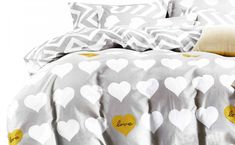 Sivé bavlnené posteľné obliečky s motívom sŕdc Comforters, Blanket, Bed, Home, Creature Comforts, Quilts, Stream Bed, Ad Home, Blankets