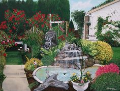 Painting by Sharon Duguay #backyard #roses #pond
