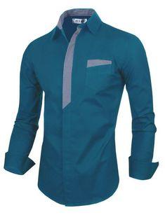 Tom's Ware Mens Premium Casual Inner Contrast Dress Shirt L Nigerian Men Fashion, Indian Men Fashion, Stylish Shirts, Casual Shirts, Gents Shirts, Mens Shirt Pattern, Mode Costume, Formal Shirts For Men, Mens Designer Shirts