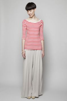 Love this look. Stripes are always fresh. The pants are a breeze, perfect for spring/summer.  Edith A. Miller - Boatneck 3/4 Sleeve Tee