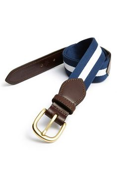Men's Smart Turnout London 'Yale University' Leather & Webbing Belt