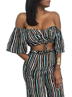 Glamaker Women's Sexy Off Shoulder Striped 2 Pieces Jumpsuit Crop Tops and Pants Set L 8/10   Special Offer: $15.99      333 Reviews Measurement Designed and produced by USA standard size. This is our size for your reference: Inch S=US 0-2 / UK 6 : —Upper Bust :29.9-32.7″...