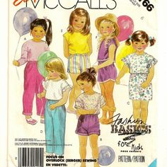 A Stretch Knit Long or Short Sleeve, Long or Short Top, Cuffed Elastic Waist Pants and Shorts Pattern for Children