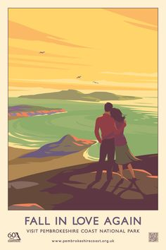 """""""Fall In Love Again"""" Pembrokeshire Coast National Park Railway Travel Poster (AddoCreative)"""