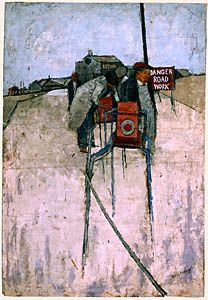 Roadmenders, Eccleshill by David Hockney. Medium: Oil on canvas strectched over board; David Hockney Art, David Hockney Paintings, Pop Art Movement, Quotes About Photography, Urban Landscape, Figure Painting, Traditional Art, Art Images, Original Paintings