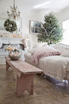 French Country - Shabby Chic Christmas - via Shabbyfufu