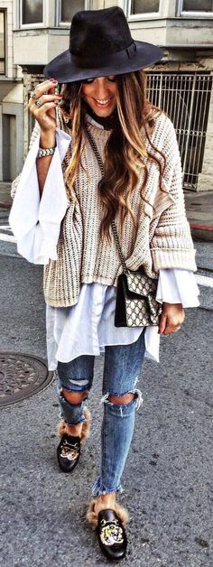 #winter #fashion /  Black Hat   Cream Knit   White Shirt