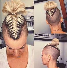Undercut Hairstyles Women, Pixie Undercut, Pompadour Hairstyle, Undercut Mohawk, Curly Mohawk Hairstyles, Shaved Hairstyles, Pixie Haircuts, Mohawk Styles, Curly Hair Styles
