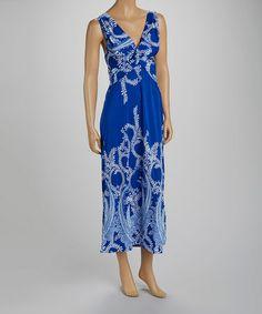 Loving this Blue Paisley Twist-Knot Maxi Dress - Women on #zulily! #zulilyfinds