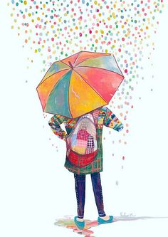 Lovely illustration by Lidia Puspita Umbrella Art, Under My Umbrella, Arte Sketchbook, Art Et Illustration, Rain Drops, Art Drawings, Fine Art Prints, Character Design, Artsy