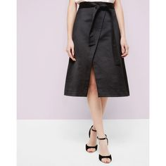 Ted Baker Midi wrap skirt (£89) ❤ liked on Polyvore featuring skirts, black, ted baker, slit skirt, mid calf skirts, calf length skirts and wrap skirt