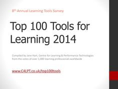 Top 100 Tools for Learning 2014 by Jane Hart via slideshare