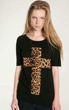 Camiseta estampada cruz leoparda-Negro EUR€18.16