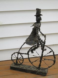 Wire Art Man on Bicycle Folk Art Sculpture door GOSHENPICKERS, $250.00