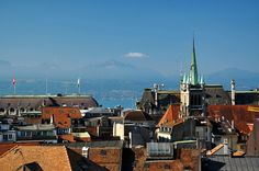 In Lausanne (Switzerland) looking over at Evian-les-bains (France).