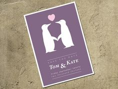 Save The Date Penguin Design Card Personalized For by MooseAndWine, £15.00