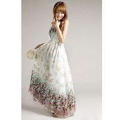 Imprimir Vestido maxi floral de la correa de las mujeres – USD $ 13.19