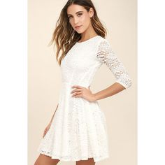 It's a New Day White Lace Skater Dress ($68) via Polyvore featuring dresses, white see through dress, white skater dress, floral skater dress, white sheer dress and white floral dress