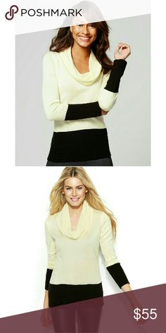 New! CALVIN KLEIN Colorblock cowl-neck Sweater NWT Chic?colorblocking?lends undeniable style to Calvin Klein's cozy cowl-neck sweater, complete with textured panels and a goes-with-everything fit.  Brand New With Tags  Color: Birch/Black  * Cowl neckline with ribbed knit * Pullover style * Long sleeves * Ribbed knit?colorblocking?at cuffs and hem * Easy fit. Hits at hip * Acrylic * Machine washable * Retails for $89.50 Calvin Klein  Sweaters