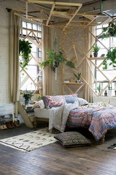 Bedroom & boho home & bohemian life & exotic interiors exteriors & eclectic space & boho design decor & gypsy inspired & nontraditional living & elements of bohemia & Bohemian Bedroom Design, Bohemian Bedroom Decor, Boho Room, Home Decor Bedroom, Bedroom Ideas, Urban Bedroom, Design Bedroom, Master Bedroom, Budget Bedroom