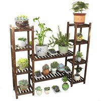 Wood Shelf Plant Stand Bathroom Rack Gardening Planter Holder Carbonized