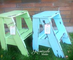 Step Stool ~Shabby Chic Furniture~ Bedroom Side Table Cottage Farmhouse This is a 21 x 14w step ladder double coated with an amazing chalk