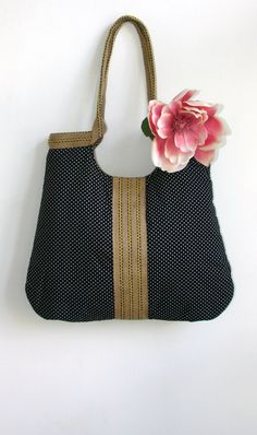 Black dots and burlap french tote bag. $65.00, via Etsy.