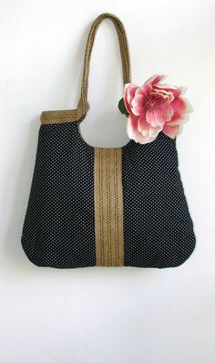 Black dots and burlap french tote bag. $65.00, via Etsy.