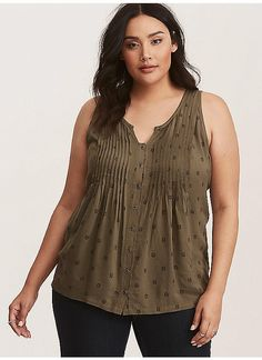 TORRID : Olive Green Owl Print Pleated Button Front Tank Top