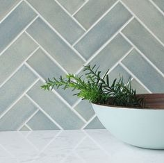 "We've collected 10 gorgeous Herringbone tile ideas. Link in bio! 2""x6"" Subway Tiles - 22E Blue Opal #101WaysToUseSubwayTile"
