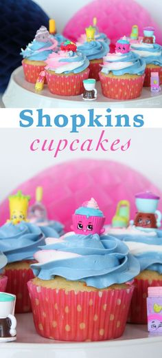 These Shopkins Cupcakes are so simple to make and the birthday party guests will flip over this fun Shopkins theme!