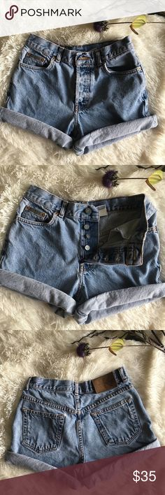 xSOLDx Vintage CK shorts Cutesy vintage Calvin Klein shorts! They have a button fly and they are high waisted! I would keep them but they are to small for me! I love vintage jeans 🖤 Calvin Klein Shorts Jean Shorts