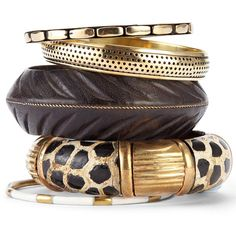 Taylor Animal Bangle Set (€19) ❤ liked on Polyvore featuring jewelry, bracelets, accessories, joias and animal jewelry