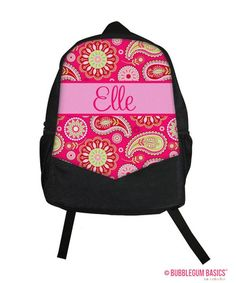 939fa57635 Personalized Kids Backpack - Monogram kids backpack - Paisley Spring Floral  - Girls canvas backpack