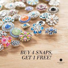 Buy 4 Magnolia and Vine snaps, get one FREE! Shop mymagnoliaandvine.com/susiebee